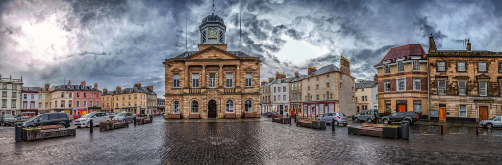 Kelso Square and Town Hall pieced from 6 original image files